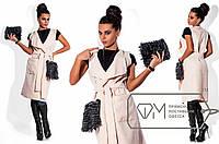 """Длинная кашемировая жилетка с накладными карманами дополнены съемным мехом """"Natalie"""" Беж, S"""