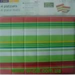 Коврик для сервировки стола (4 шт) зелено - полосатый. (31,5 х41,5 см)Tchibo, Германия.