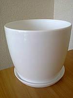 Горщик Глянець Класік з підставкою / Горшок Глянец d-11,h-10,v-0,8л. (белый)