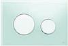 Панель смыва ТЕСЕloop из зеленого стекла, клавиши белые