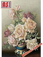 "Набор вышивка бисером ""Ваза с розами"" 59*41,5 см (частичная зашивка) Формат А2"