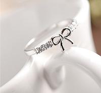 [ Кольцо Бантик ] Женское кольцо колечко с бантиком 16 Серебро