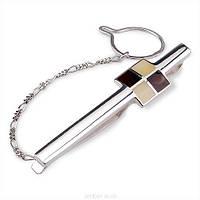 Зажим для галстука с янтарем в серебре