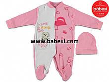 Человечек для новорожденного 3,6 мес Турция арт 69158 розовый.