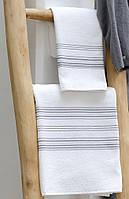 Махровое полотенце 30х40 Hamam Meyzer (PAMUK) White/Dark grey