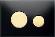 Панель смыва ТЕСЕloop из черного стекла, клавиши позолоченные, фото 1