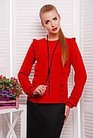Блуза с Вертикальными Рюшами из Креп-Шифона Красная р. S-L