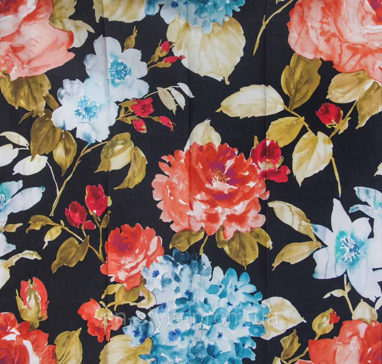 Ткань для штор цветы акварель Otylia Black