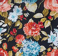 Ткань для штор цветы акварель Otylia Black, фото 1