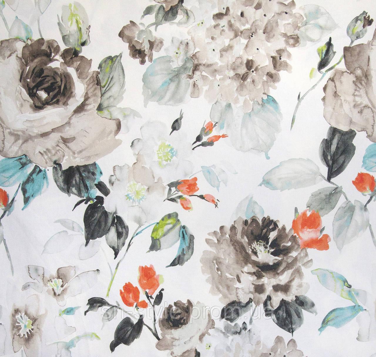 Ткань для штор цветы акварель Otylia Duckegg