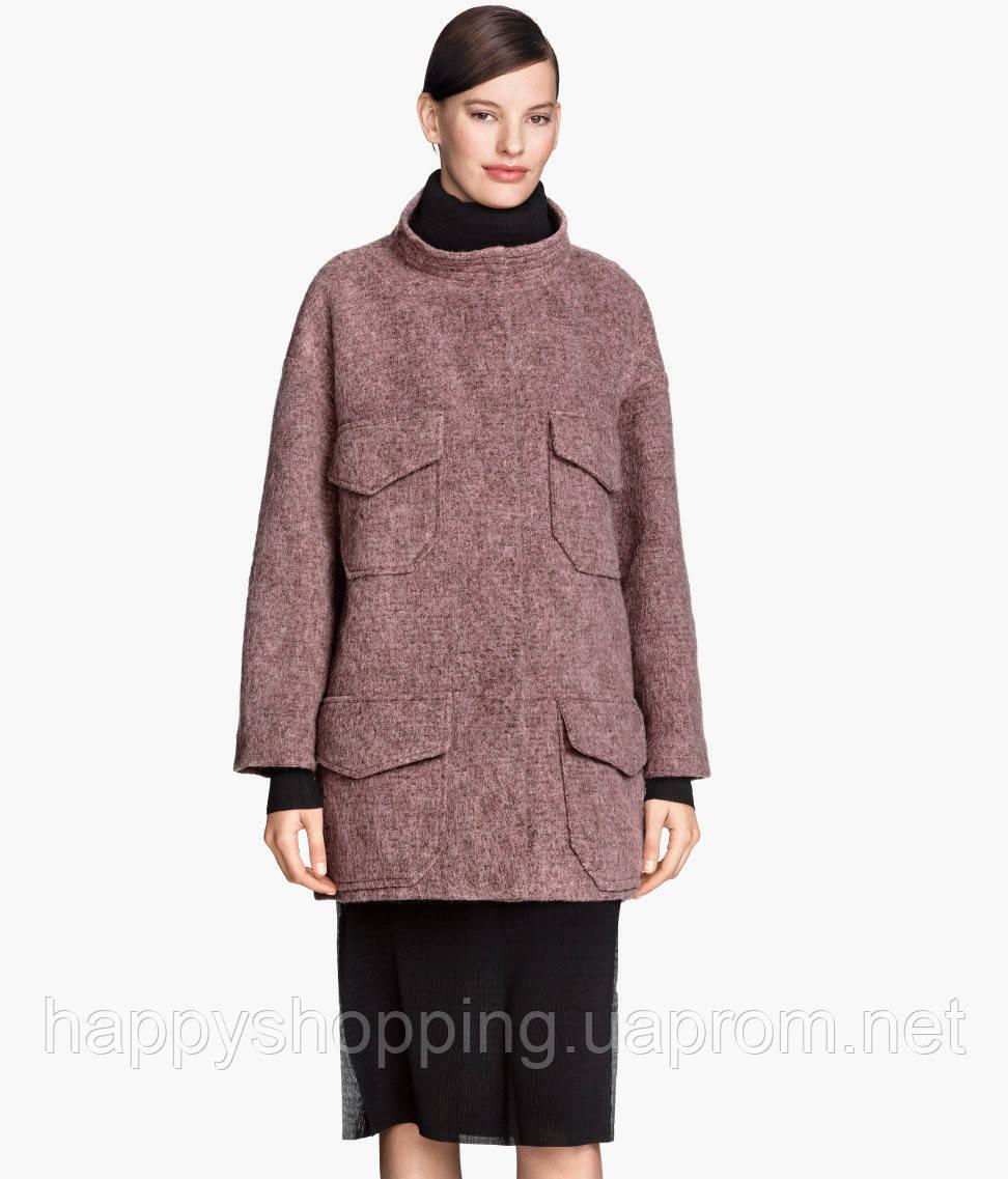 Женское брендовое пальто свободного фасона с карманами  H&M