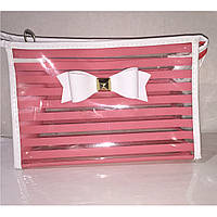 Косметичка женская прозрачно-розовая с бантиком, фото 1