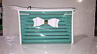 Косметичка женская прозрачно-мятная с бантиком, фото 1