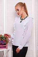 Блуза с Вертикальными Рюшами из Креп-Шифона  Белая р. S-L