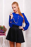 Блуза с Вертикальными Рюшами из Креп-Шифона Электрик р. S-L
