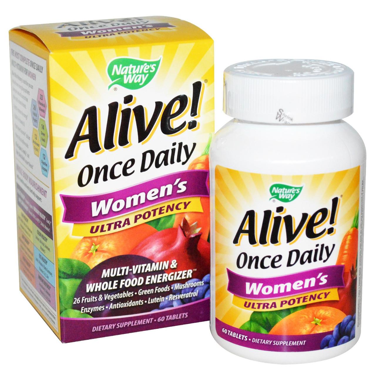 Мультивитаминный комплекс для женщин Alive! Ultra Potency, 1 таблетка в день. Сделано в США.