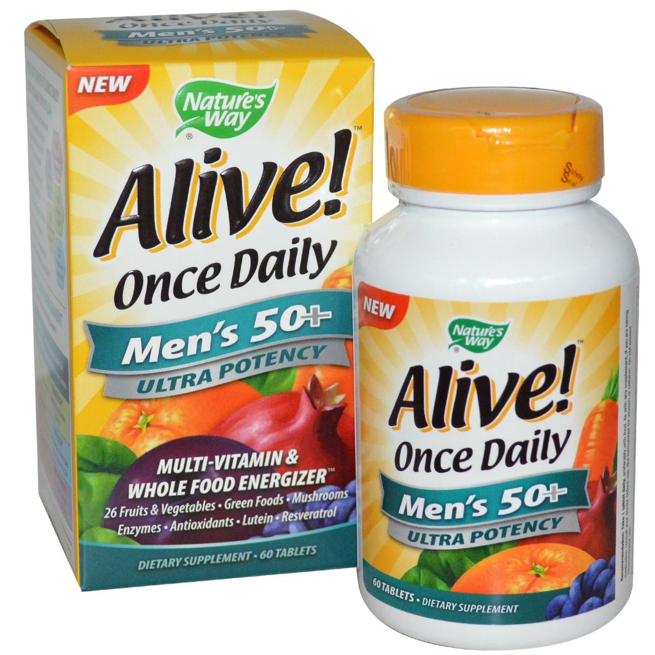Цельнопищевой мультивитаминный комплекс для мужчин старше 50 лет Nature's Way, Alive! Сделано в США.