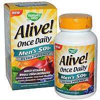 Цельнопищевой мультивитаминный комплекс для мужчин старше 50 лет Nature's Way, Alive! Сделано в США., фото 1