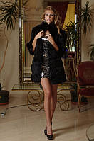 Шуба жилет из черной лисы, рукава съемные на молнии convertible fox fur coat vest in black