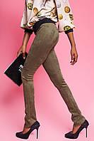 Модные Женские Брюки из Замши Цвета Хаки S-XL