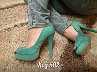 Женские туфли на высоком каблуке мятные с открытым пальчиком, фото 1