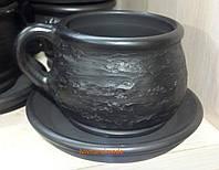 Чашка - філіжанка кавова бочка на каву з чорнодимленої кераміки, фото 1