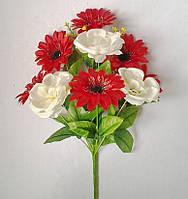 Букет искусственных цветов  Гербера с чайной розой (микс) , 50 см