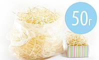 Наполнитель для упаковки и декора: деревянная стружка /древесная шерсть/, фасовка 50 грамм