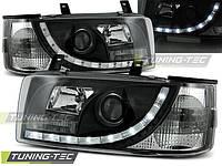 Передние тюнинг фары Volkswagen T-4 1990-2003 г.в. прямы фары. ангельские глазки черные