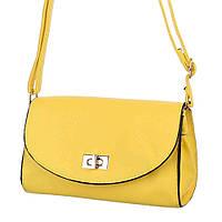 Женская сумка под кожу желтого цвета с плечевым ремнем для  переноски