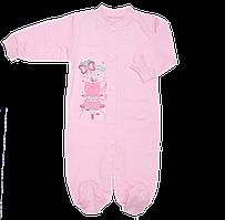 Человечек для новорожденного р. 74 с начесом ткань ФУТЕР 100% хлопок ТМ Виктория 3038 Розовый