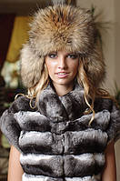 Малахай из енота. Верх кожаный, утеплена шерстипоном, хвост съемный., фото 1