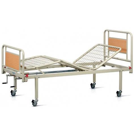 Кровать медицинская металлическая трехсекционная на колесах, фото 2