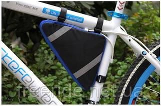 Треугольная велосумка под раму, бардачок (черно-синий)