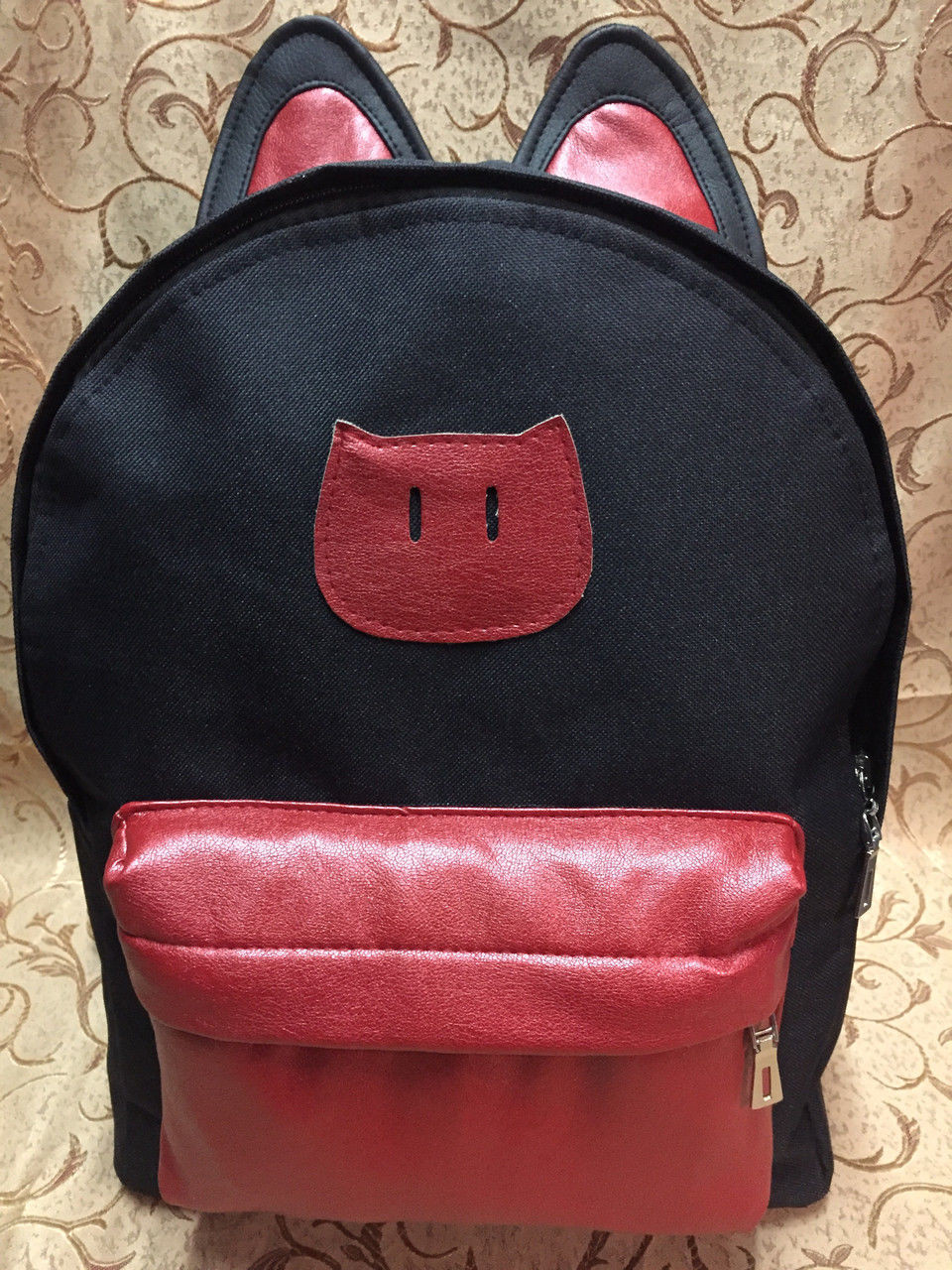 Рюкзак Котик молодежный, чёрный с красным ( код: IBR002R )