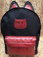 Рюкзак Котик молодежный, чёрный с красным ( код: IBR002R ), фото 1