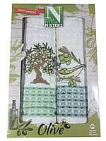 Полотенца для кухни вафельные Оливка