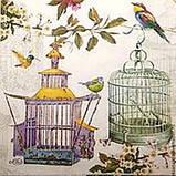 """Салфетки для декупажа """"Птички в клетке"""" 25*25 см №178, фото 2"""