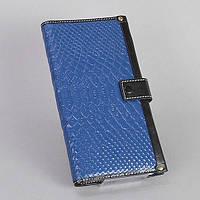 Кошелек кожаный женский синий съемный отдел, фото 1