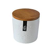 Емкость для сыпучих 16см белая с бамбуковой крышкой 21-252-015 Krauff