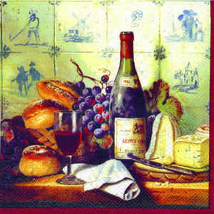 """Салфетки для декупажа """"Вино,виноград,сыр,выпечка."""" красный 33*33 см №233"""
