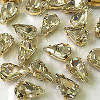 Стразы в золотых цапах Сrystal.Размер 6x10мм*1шт