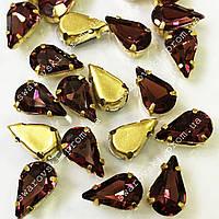 Стразы в золотых цапах Red Wine. Размер 6x10мм*1шт