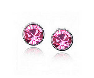 Серьги CZ Diamond (Розовый), фото 2