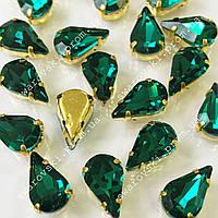 Стразы в золотых цапах Green Zircon. Размер 6x10мм*1шт