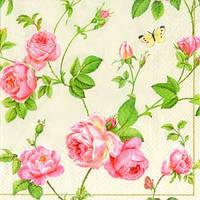 """Салфетки для декупажа """"Плетение ветвей и розы"""" кремовый 33*33 см №41"""