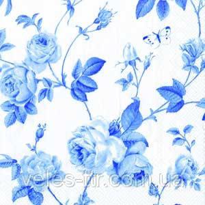 """Салфетки для декупажа """"Плетение ветвей и розы"""" белый и голубой 33*33 см №42"""