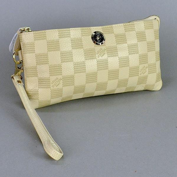 Клатч - кошелек женский натуральная кожа бежевый Louis Vuitton 1872