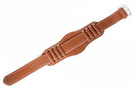 Ремешок кожаный Nobrand для наручных часов с классической застежкой и напульсником, коричневый, 18 мм