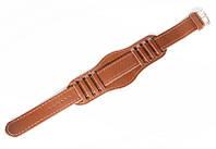 Ремінець шкіряний Nobrand для наручних годинників з класичною застібкою і напульсником, коричневий, 18 мм